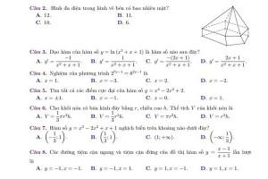 10 đề thi thử học kỳ I môn Toán nắm chắc trên 7 điểm cho học sinh lớp 12 (có đáp án)
