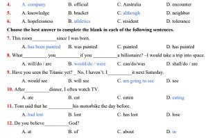 Bộ đề ôn thi học kì I môn Tiếng Anh lớp 12 năm học 2019 -2020 (có đáp án)